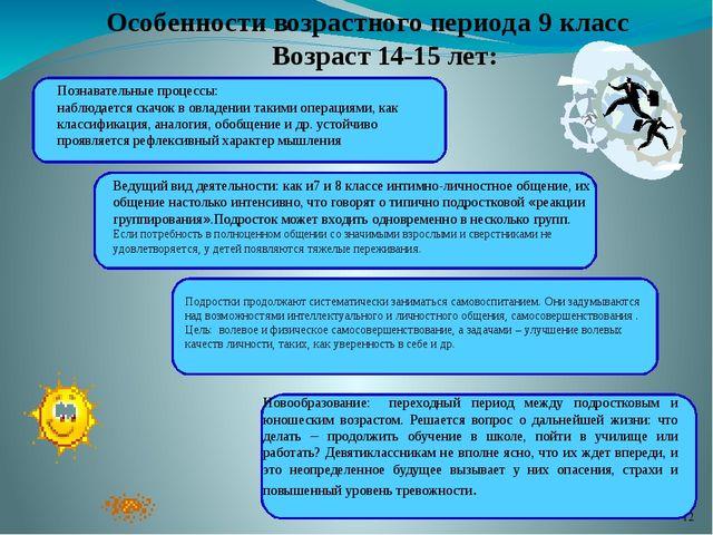 Особенности возрастного периода 9 класс Возраст 14-15 лет: Познавательные пр...