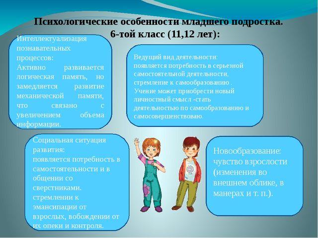 Психологические особенности младшего подростка. 6-той класс (11,12 лет): Ново...