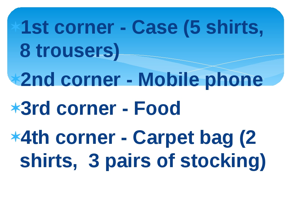 1st corner - Case (5 shirts, 8 trousers) 2nd corner - Mobile phone 3rd corner...
