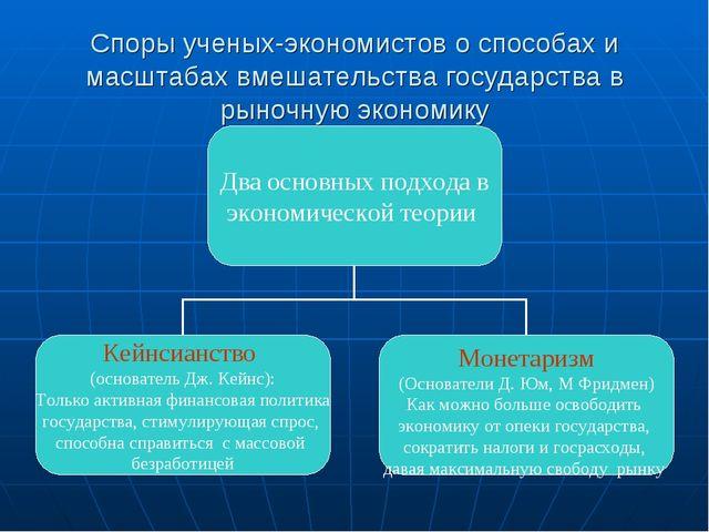 Споры ученых-экономистов о способах и масштабах вмешательства государства в р...