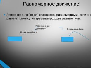 Равномерное движение Движение тела (точки) называется равномерным, если оно