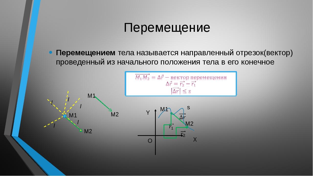 Перемещение Перемещением тела называется направленный отрезок(вектор) провед...