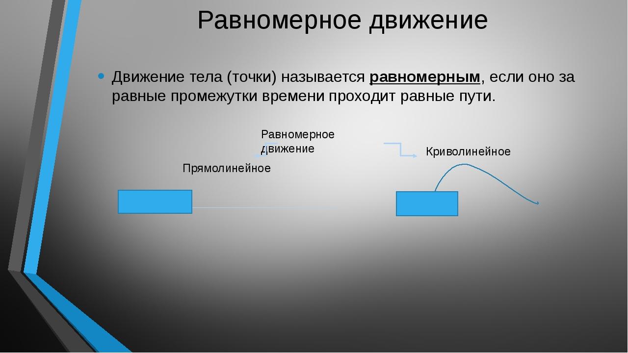 Равномерное движение Движение тела (точки) называется равномерным, если оно...