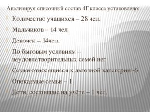 Анализируя списочный состав 4Г класса установлено: Количество учащихся – 28