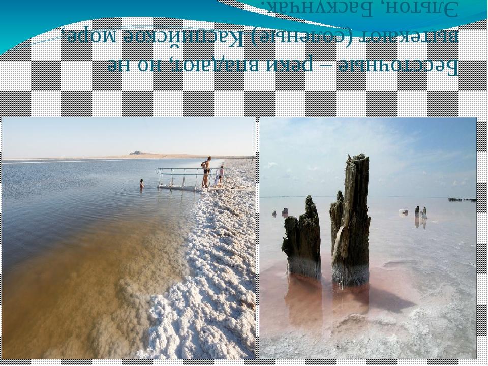 Бессточные – реки впадают, но не вытекают (соленые) Каспийское море, Эльтон,...