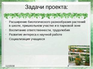 Задачи проекта: Расширение биологического разнообразия растений в школе, приш