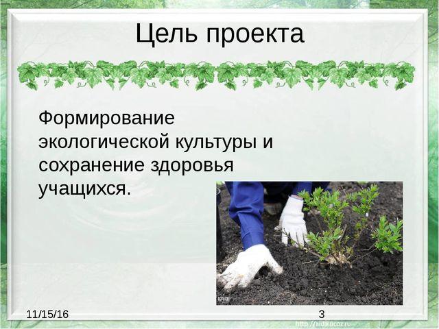 Цель проекта Формирование экологической культуры и сохранение здоровья учащих...