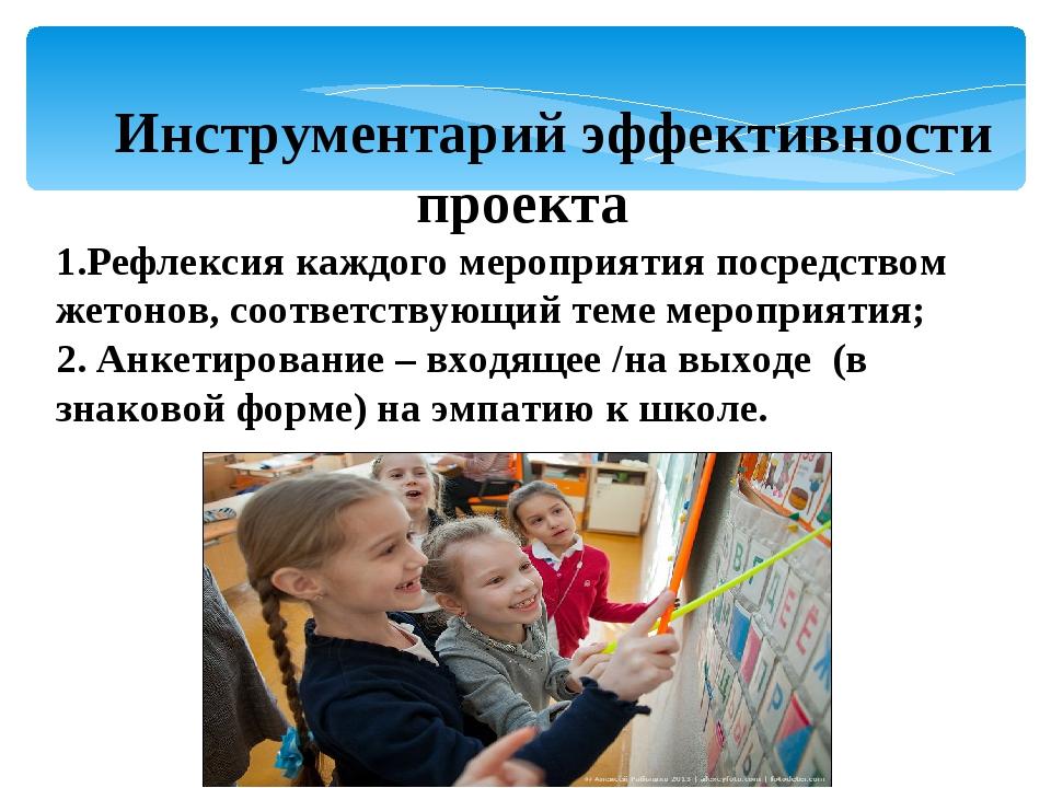 Инструментарий эффективности проекта Рефлексия каждого мероприятия посредств...