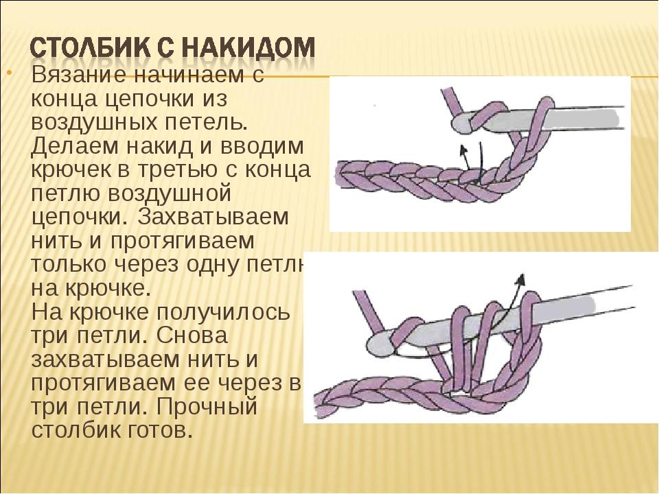 Вязание начинаем с конца цепочки из воздушных петель. Делаем накид и вводим к...