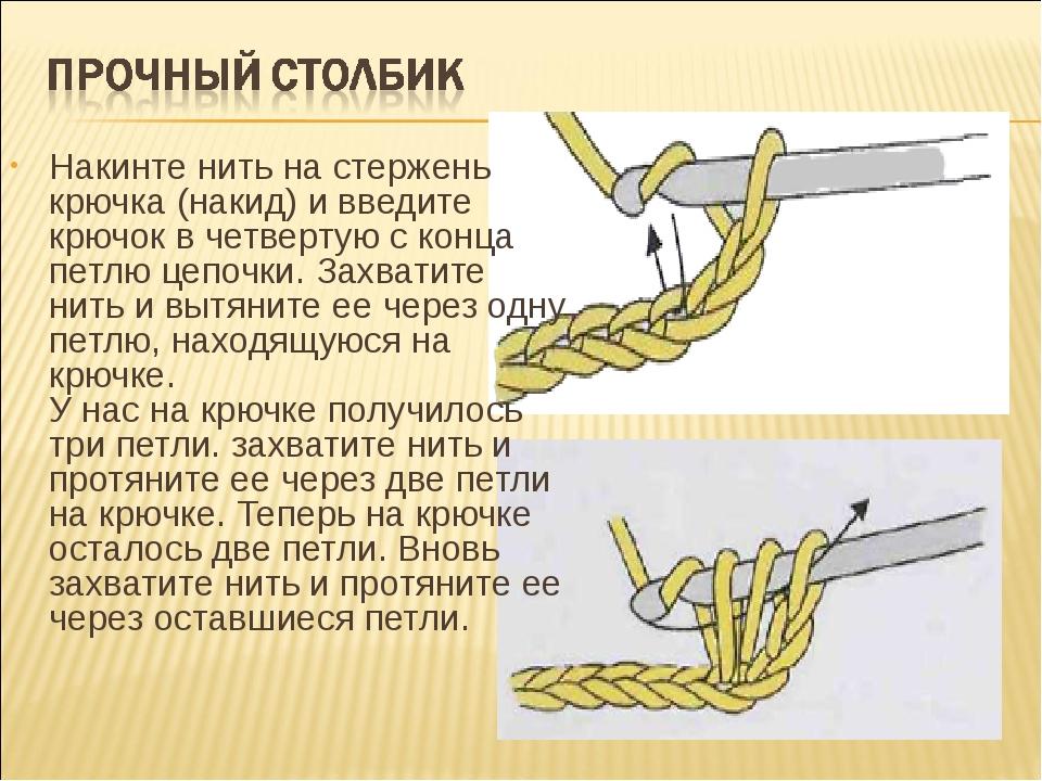 Накинте нить на стержень крючка (накид) и введите крючок в четвертую с конца...