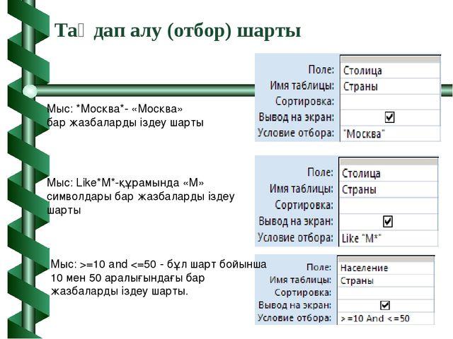 Таңдап алу (отбор) шарты Мыс: Like*М*-құрамында «М» символдары бар жазбаларды...