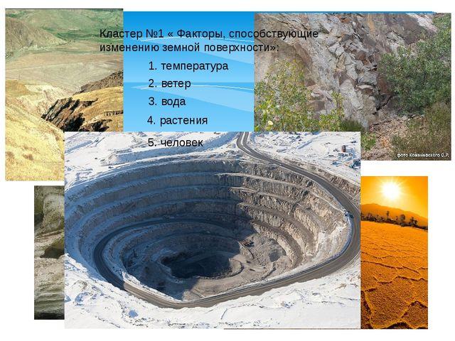 Кластер №1 « Факторы, способствующие изменению земной поверхности»: 1. темпер...