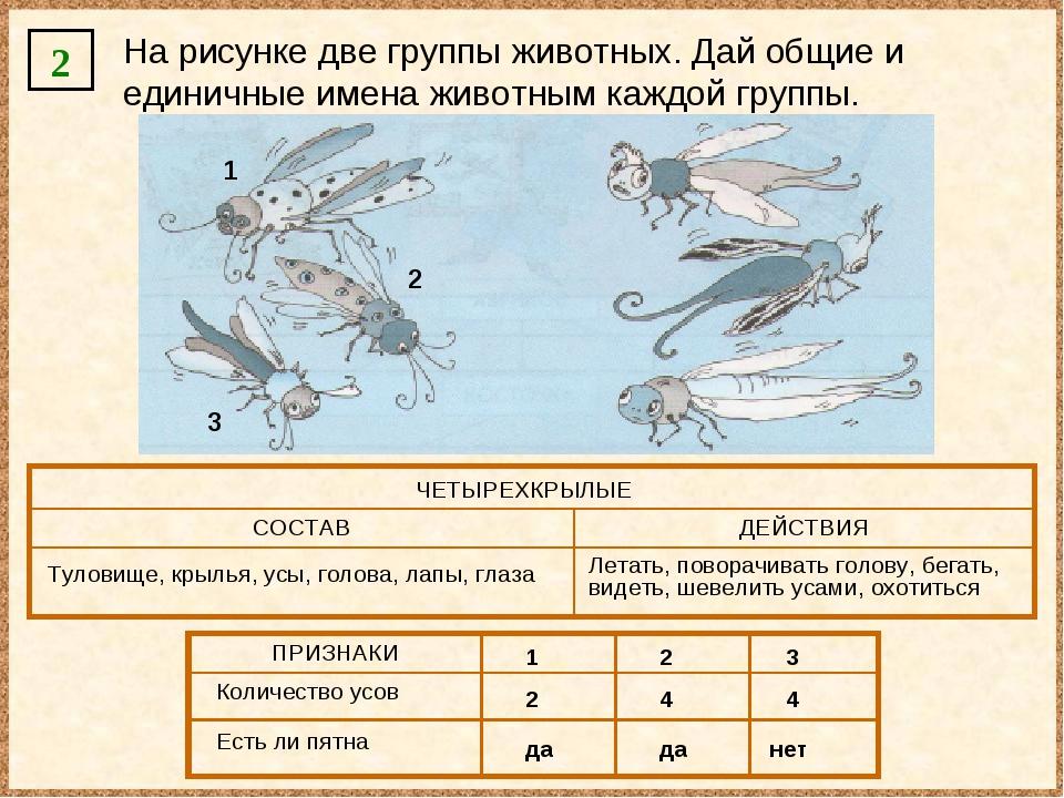 2 На рисунке две группы животных. Дай общие и единичные имена животным каждой...