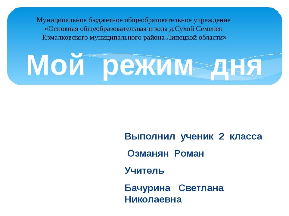 Выполнил ученик 2 класса Озманян Роман Учитель Бачурина Светлана Николаевна М...