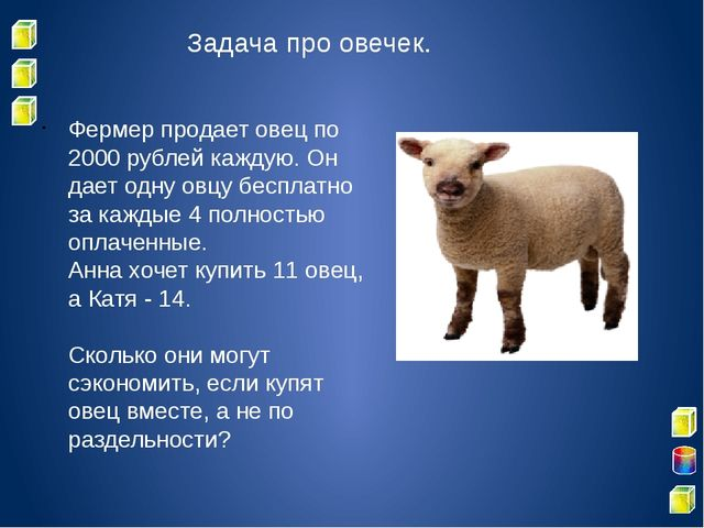 Задача про овечек. Фермер продает овец по 2000 рублей каждую. Он дает одну ов...