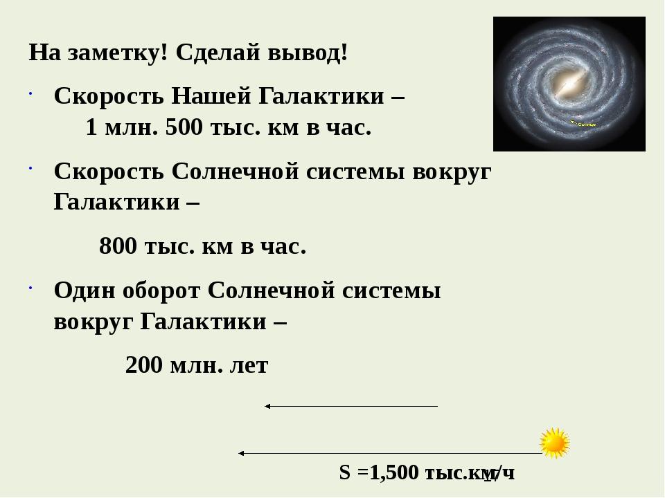 На заметку! Сделай вывод! Скорость Нашей Галактики – 1 млн. 500 тыс. км в ча...
