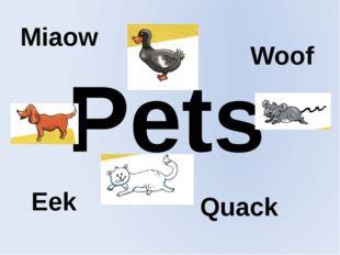 Pets Miaow Woof Eek Quack