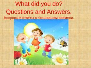 What did you do? Questions and Answers. Вопросы и ответы в прошедшем времени.