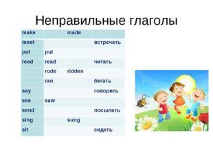 Неправильные глаголы makemade meetвстречать putput readreadчитать