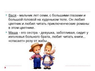Вася- мальчик лет семи, с большими глазами и большой головой на худеньком те