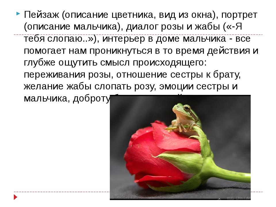 Пейзаж (описание цветника, вид из окна), портрет (описание мальчика), диалог...