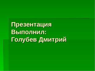 Презентация Выполнил: Голубев Дмитрий