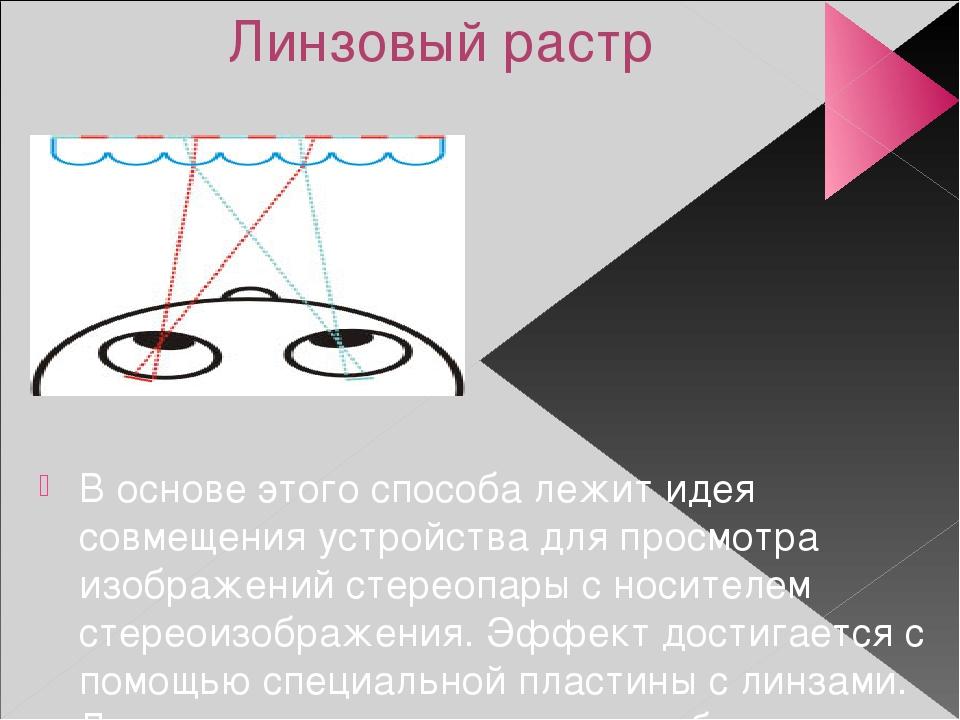 Линзовый растр В основе этого способа лежит идея совмещения устройства для пр...