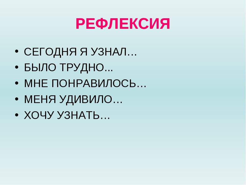 РЕФЛЕКСИЯ СЕГОДНЯ Я УЗНАЛ… БЫЛО ТРУДНО... МНЕ ПОНРАВИЛОСЬ… МЕНЯ УДИВИЛО… ХОЧУ...