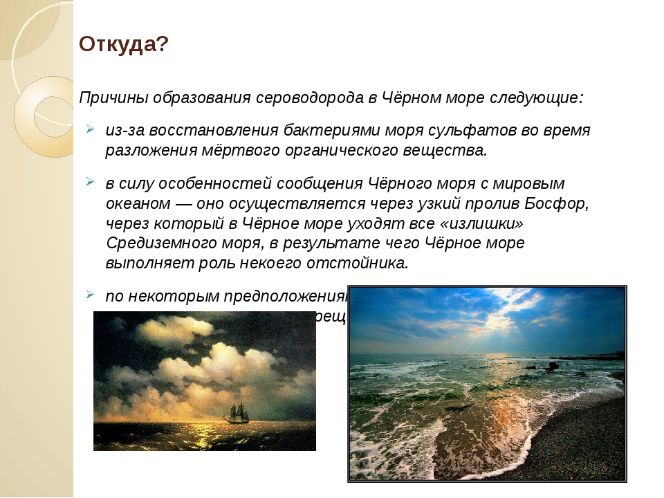 Откуда? Причины образования сероводорода в Чёрном море следующие: из-за восст...