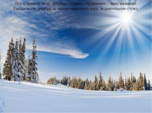Вот и пришла зима. Декабрь- студень, год кончает – зиму начинает. Такпрозвали