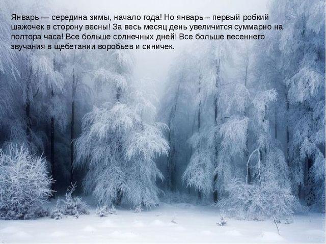 Январь — середина зимы, начало года! Но январь – первый робкий шажочек в сто...