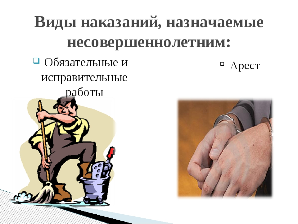 Обязательные и исправительные работы Виды наказаний, назначаемые несовершенн...