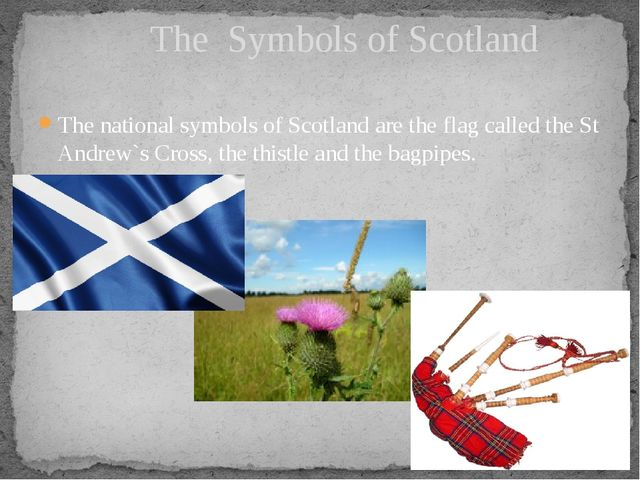 The national symbols of Scotland are the flag called the St Andrew`s Cross, t...