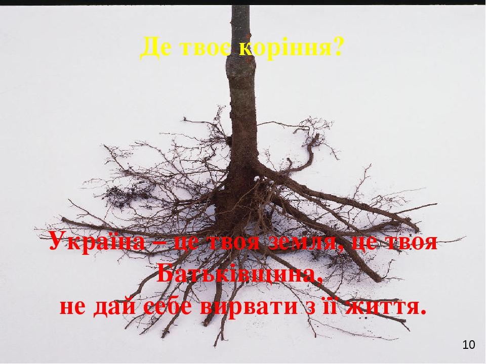 Де твоє коріння? Україна – це твоя земля, це твоя Батьківщина, не дай себе ви...