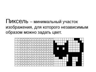 Пиксель – минимальный участок изображения, для которого независимым образом