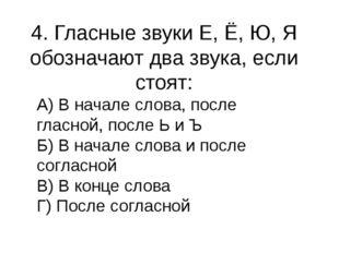 4. Гласные звуки Е, Ё, Ю, Я обозначают два звука, если стоят: А) В начале сло