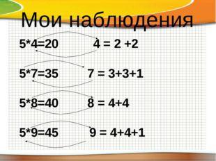 Мои наблюдения 5*4=20 4 = 2 +2   5*7=35  7 = 3+3+1 5*8=40  8 = 4+4 5*9