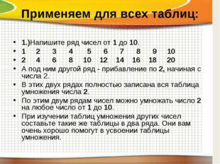 Применяем для всех таблиц: 1.)Напишите ряд чисел от 1 до 10. 1 2 3 4 5 6 7 8