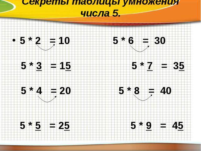 Секреты таблицы умножения числа 5. 5 * 2 = 105 * 6 = 30 5 * 3 = 15 5 * 7...