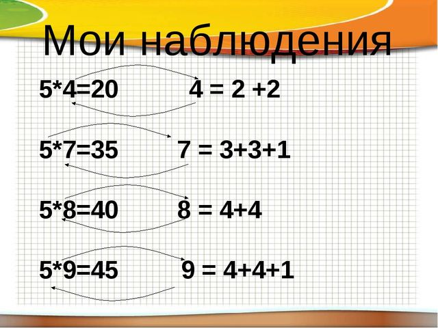 Мои наблюдения 5*4=20 4 = 2 +2   5*7=35  7 = 3+3+1 5*8=40  8 = 4+4 5*9...