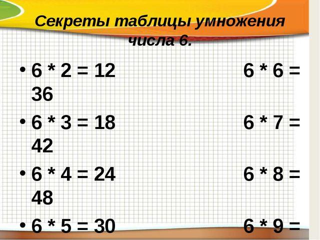 Секреты таблицы умножения числа 6. 6 * 2 = 126 * 6 = 36 6 * 3 = 186...