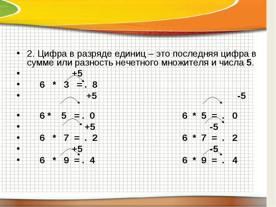 2. Цифра в разряде единиц – это последняя цифра в сумме или разность нечетно...