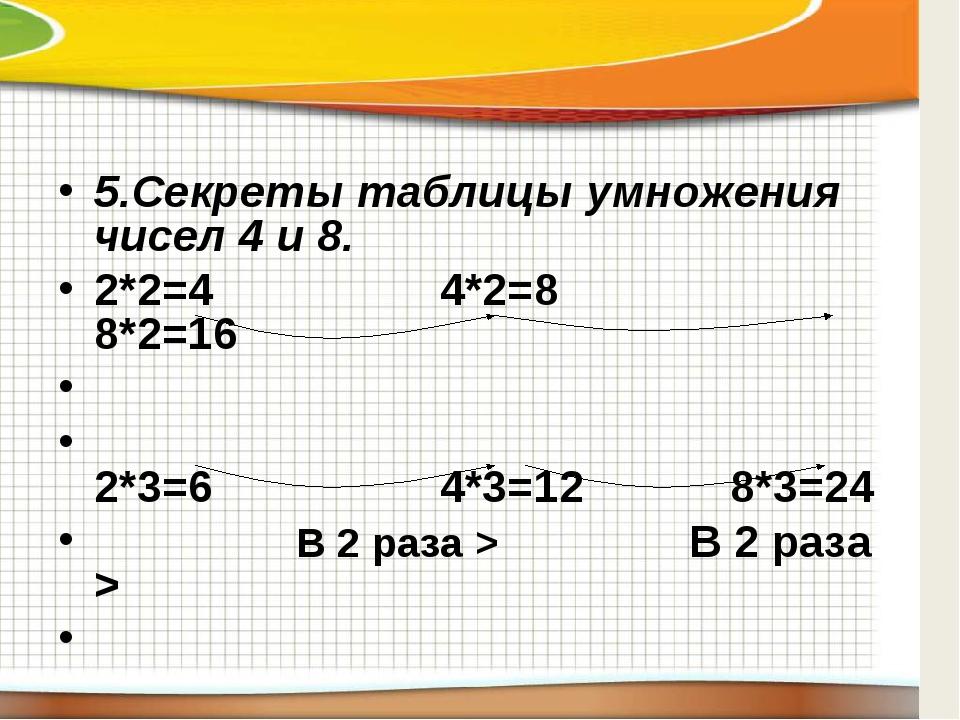 5.Секреты таблицы умножения чисел 4 и 8. 2*2=4 4*2=8 8*2=16  2*3=6 4*3...