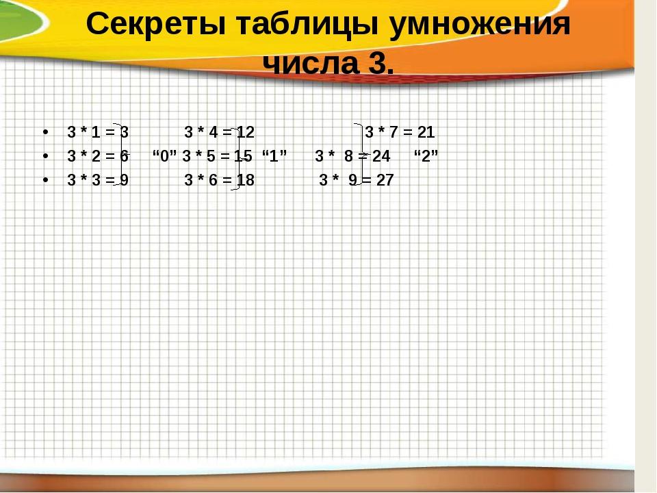 Секреты таблицы умножения числа 3. 3 * 1 = 3 3 * 4 = 12 3 * 7 = 21 3 * 2 =...