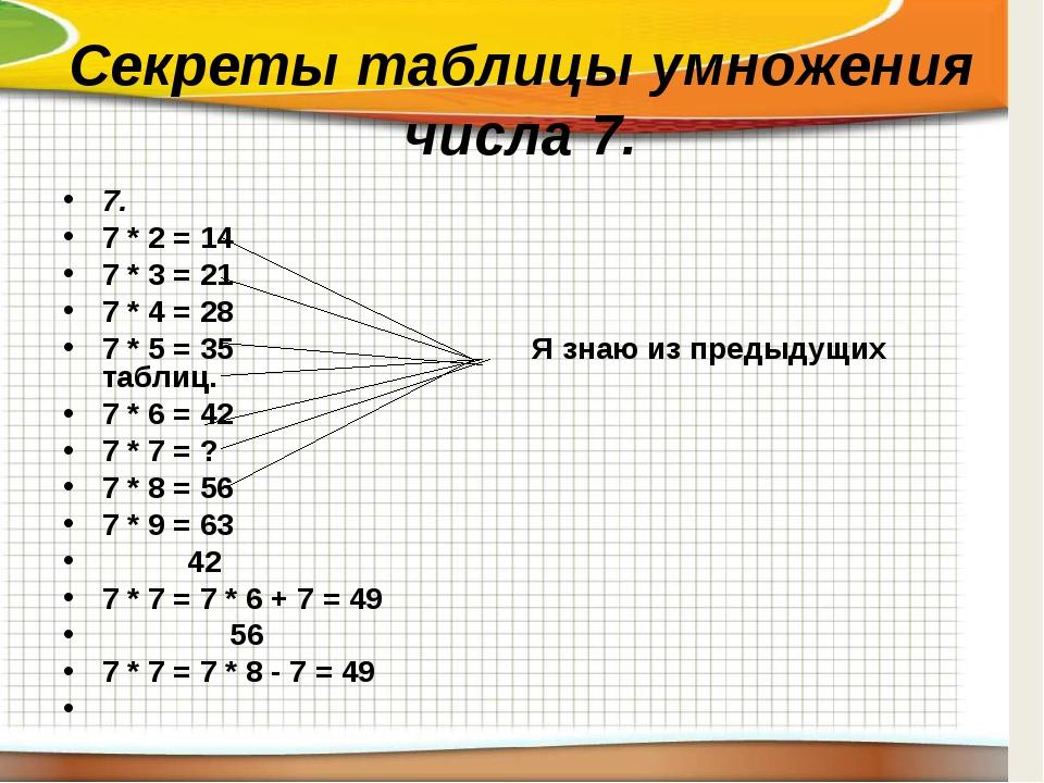 Секреты таблицы умножения числа 7. 7. 7 * 2 = 14 7 * 3 = 21 7 * 4 = 28 7 * 5...