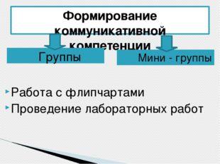 Формирование коммуникативной компетенции Группы Мини - группы Работа с флипча