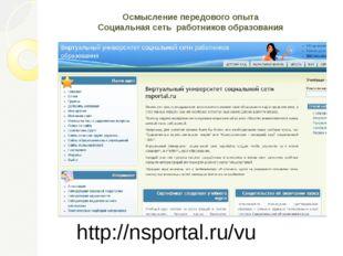Осмысление передового опыта Социальная сеть работников образования http://nsp