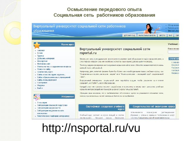 Осмысление передового опыта Социальная сеть работников образования http://nsp...