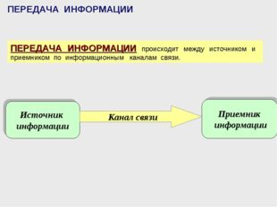 ПЕРЕДАЧА ИНФОРМАЦИИ ПЕРЕДАЧА ИНФОРМАЦИИ происходит между источником и приемни