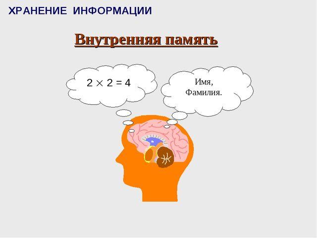 ХРАНЕНИЕ ИНФОРМАЦИИ Внутренняя память
